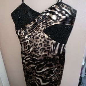 Leopard mini cocktail dress with black sequence